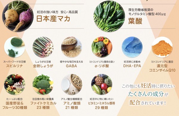 【manaka(マナカ)】の妊活サポート8大成分